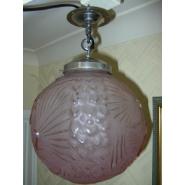 (SOLD) Excellent large globe fixture by Muller Frere with peacock bird pattern