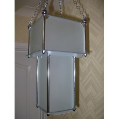 English stepped glass panel fixture with chrome chain fittings