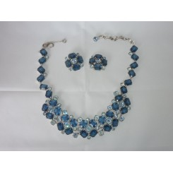 Mitchel Maer For Christian Dior Blue Necklace Clip On Earrings And Necklace Set
