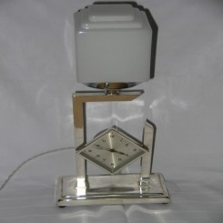 Wonderful silver plated modernist english clock table lamp with square shade