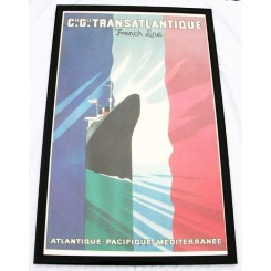 CGTFrench Line Steamship poster by Paul Colin 1984 re-print