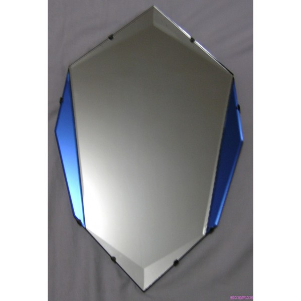 Blue Shield Shaped Art Deco Mirror Deco Dave