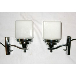 Pair Of Art Deco Wall Lights With White Cube Shades