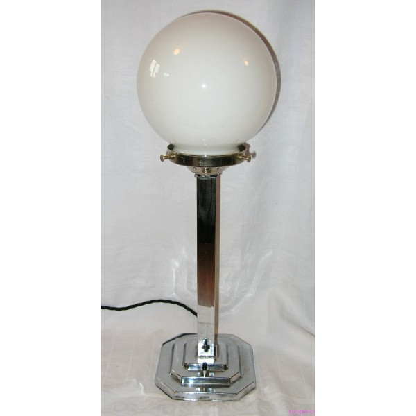 Art Deco Stepped Square Base Table Lamp With White Globe