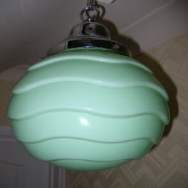 Large green glass ceiling fixture