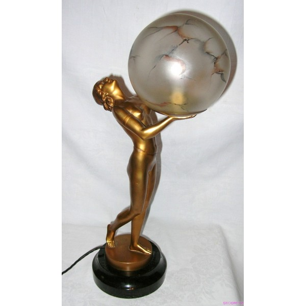 All Original Art Deco Spelter Lady Lamp With Smoky Marbled