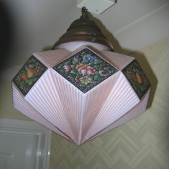 Deco diamond shaped ceiling fixture with floral painted decoration