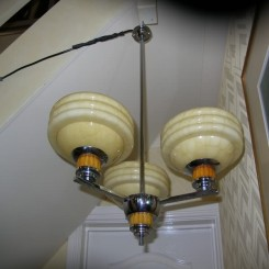 Three branch phenolic and chrome ceiling fixture