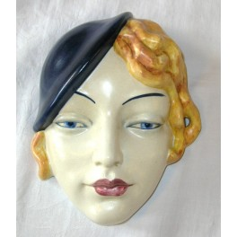 English Art Deco Lady Wall Mask With Blue Berry Hat Deco
