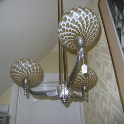 French deco three arm nickle fixture with czech glass shades