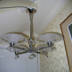 Chrome (4) branch modernist fixture with glass ball decoration