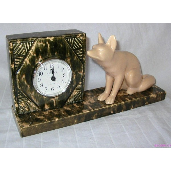 Art Deco French Pottery Fox Clock By Odyv Deco Dave
