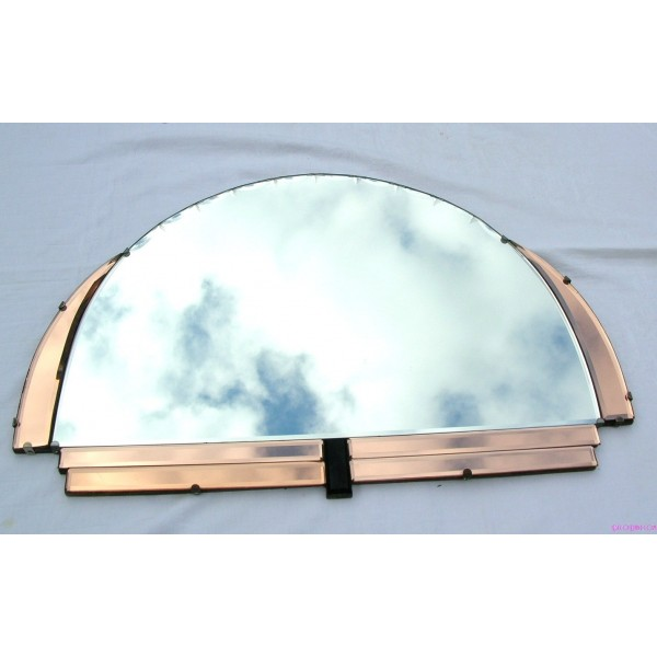 Wonderful Art Deco semi circle mirror with pink and black decoration - Deco Dave VK56