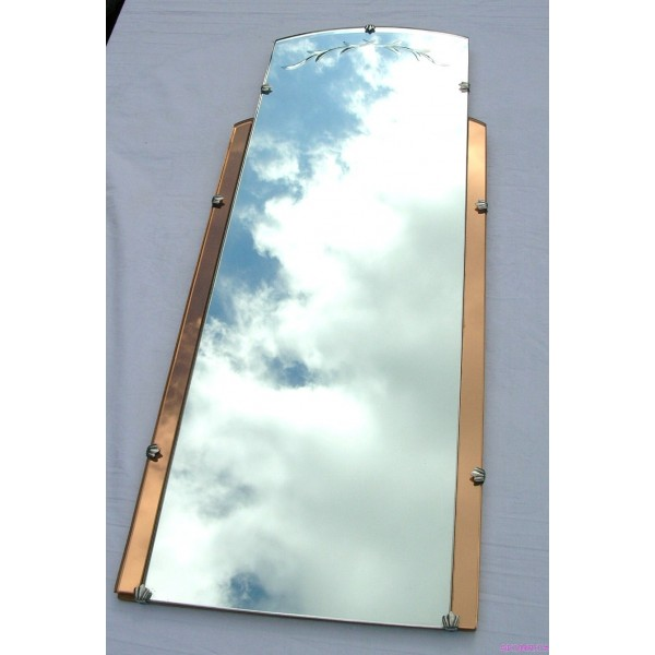 Art Deco long portrait style copper clear wall mirror - Deco Dave