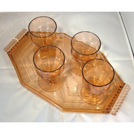 Art Deco Glass Tray And Four Glasses