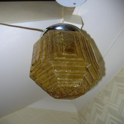 Art deco amber crackle glass ceiling fixture