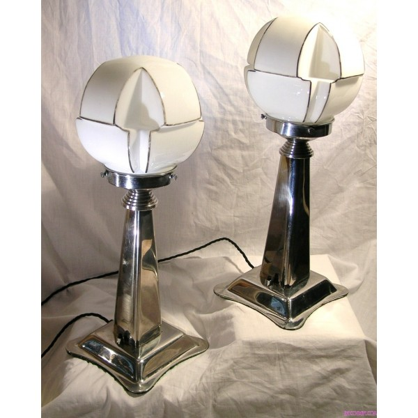 Pair Of Art Deco Nickel Table Lamps With Black And White