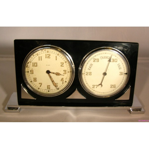 Art Deco Chrome And Black Glass Combined 8 Day Clock And