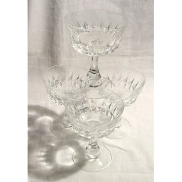 Set Of 4 Art Deco Continental Crystal Champagne Coupes