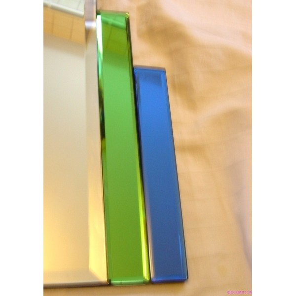 English Art Deco Odeon Style Green Blue Wall Hung Mirror - Deco Dave