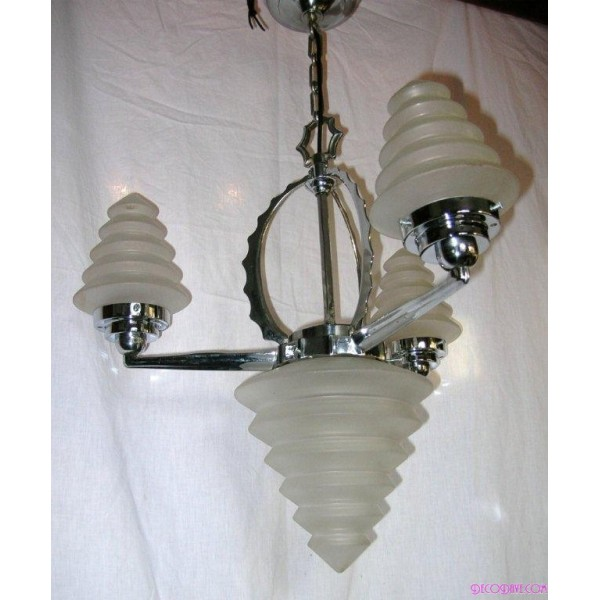 Art Deco Ceiling Fixture With Frosted Stepped Cone Shades