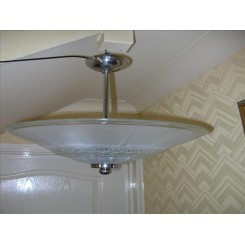 Good french modernist glass & chrome ceiling fixture
