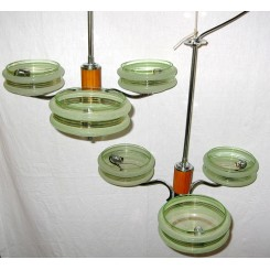 Pair Of Chrome And Catalin 3 Arm Art Deco Fixtures