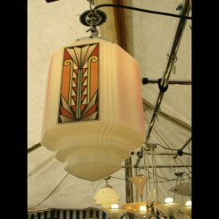 French stepped white glass fixture with coloured motives