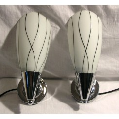 Chrome Cone Shaped Wall Lights With Black And White Shades