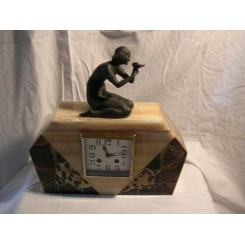 Marble mantle clock with lady and bird decoration