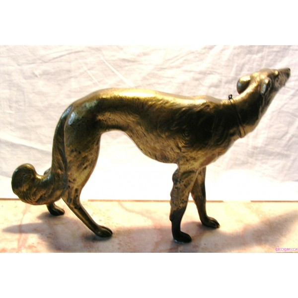 Art Deco Gilded Spelter Figure Of A Borzoi Dog On A Mixed