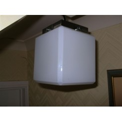 Excellent cubist white glass fixture with chrome mount (ideal for a bathroom)