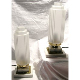 Pair Of Hettier Et Vincent Table Lamps On Square Marble And Bronze Bases