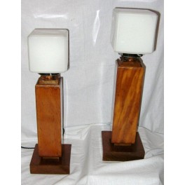 Pair Of English Art Deco Hardwood Table Lamps With White Shades