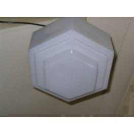 Pair of large hexagonal stepped white ceiling fixtures