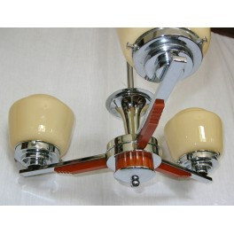English Art Deco Catalin & Chrome Ceiling Fixture With Yellow Globe Shades