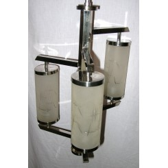 French Modernist 3 Tube Nickle Fixture