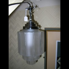 A lovely pair of stepped frosted glass fixtures