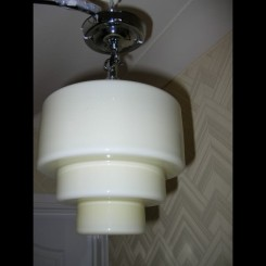 Large yellow stepped glass ceiling fixture
