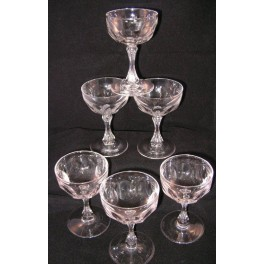 Set of 6 French Champagne coupes