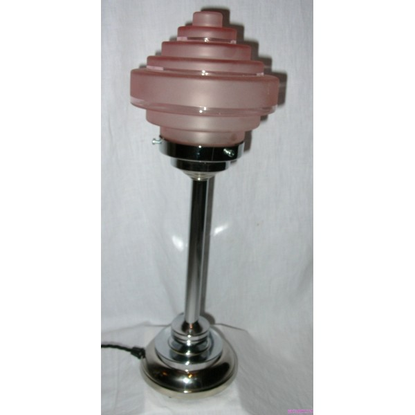 Pair Of Art Deco Table Lamps With Stepped Odeon Style