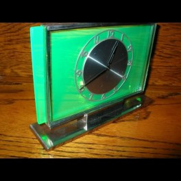 Green glass modernist clock with (8) day movement