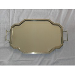 Unusual Deco Nickel And Mirrored Glass Tray