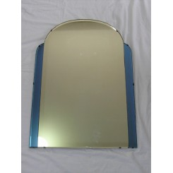 English Art Deco blue and clear mirror