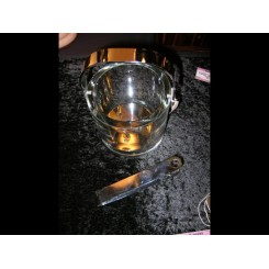 Modernist french glass ice bucket with matching tongs & internal stand