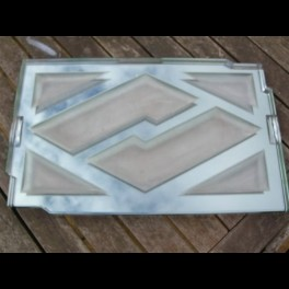 Superb french modernist glass mirror tray by jean luce