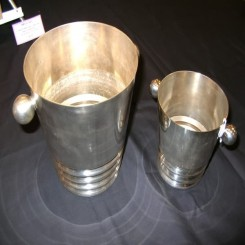 pair of french silver plated matching ice buckets
