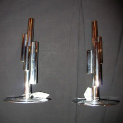 Excellent modernist chrome bud vases by chase