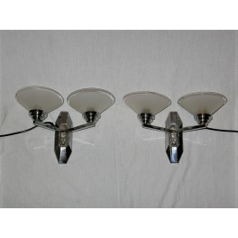 Pair Of Silvered Bronze Twin Arm Deco Wall Lights