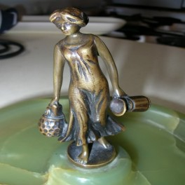 Austrian bronze lady water carrier on green onyx tray